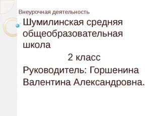 Внеурочная деятельность Шумилинская средняя общеобразовательная школа 2 класс