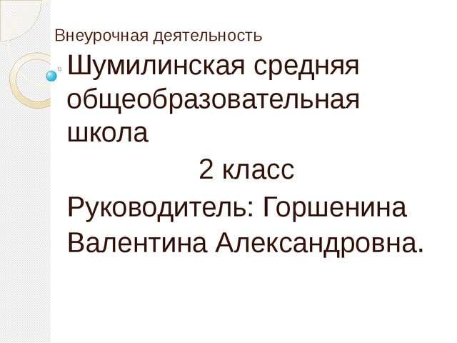 Внеурочная деятельность Шумилинская средняя общеобразовательная школа 2 класс...