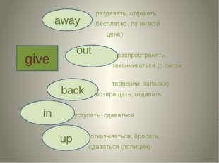 раздавать, отдавать (бесплатно, по низкой цене) распространять, заканчиватьс