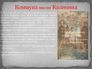 Коммуна имени Калинина В 30-х годах ХХ века началась коллективизация, недалек