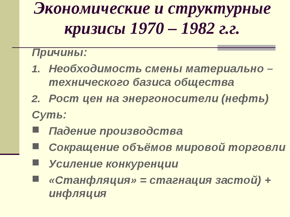 Экономические и структурные кризисы 1970 – 1982 г.г. Причины: Необходимость с...