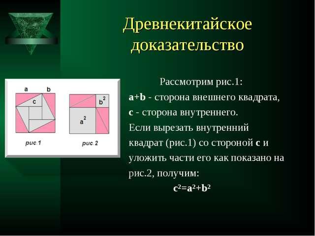Древнекитайское доказательство Рассмотрим рис.1: а+b - сторона внешнего квадр...