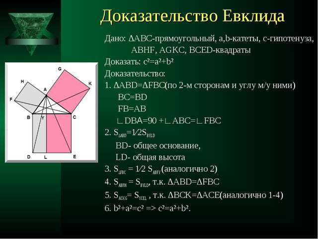 Доказательство Евклида Дано: ∆АВС-прямоугольный, а,b-катеты, с-гипотенуза, AB...