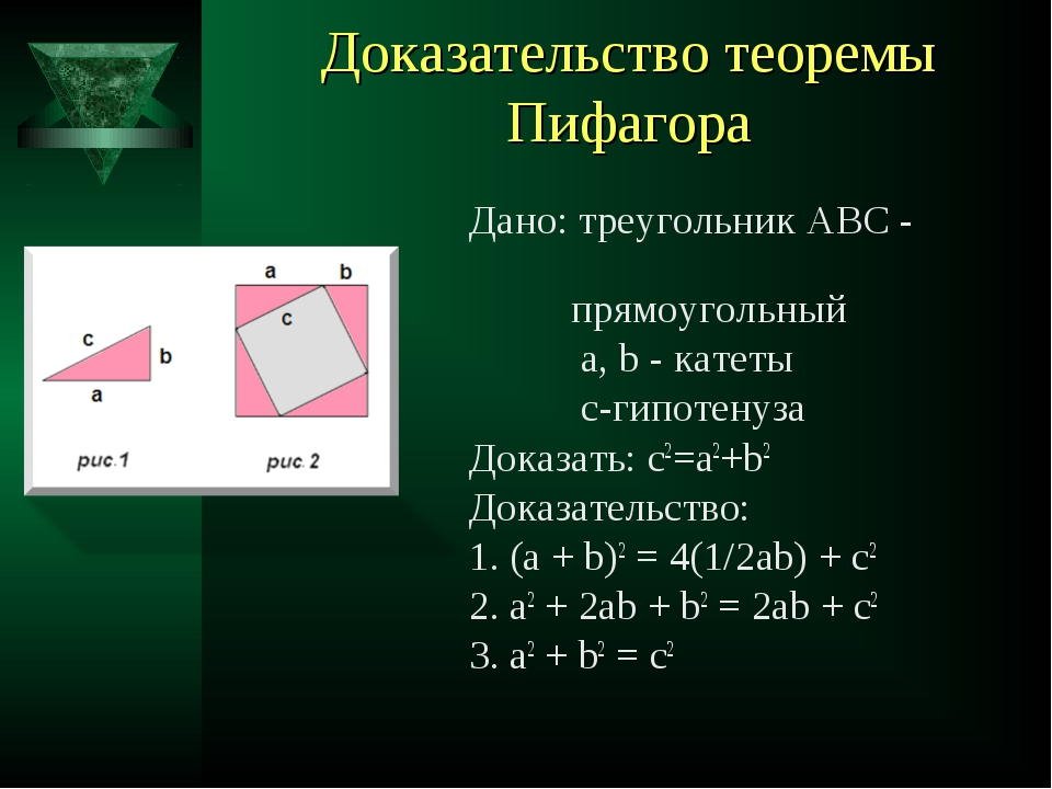 Доказательство теоремы Пифагора Дано: треугольник АВС - прямоугольный a, b -...
