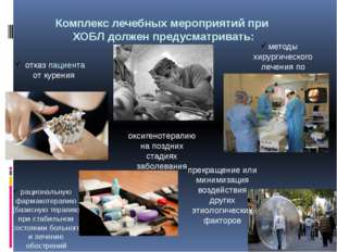 Комплекс лечебных мероприятий при ХОБЛ должен предусматривать: отказ пациента