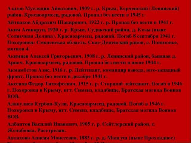 Азизов Муслядин Айвазович, 1909 г. р. Крым, Керченский (Ленинский) район. Кр...