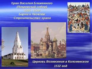 Храм Василия Блаженного (Покровский собор) 1555 - 1560 Барма и Яковлев Строит
