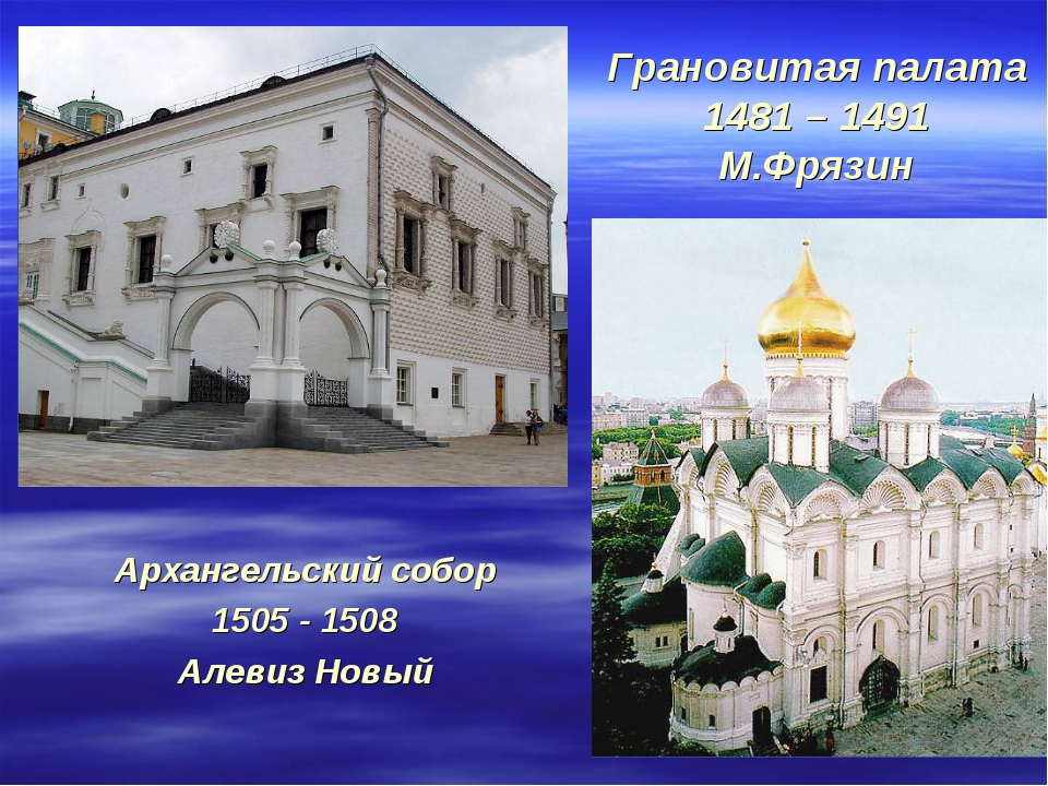 Грановитая палата 1481 – 1491 М.Фрязин Архангельский собор 1505 - 1508 Алевиз...