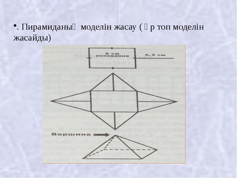 . Пирамиданың моделін жасау ( әр топ моделін жасайды)