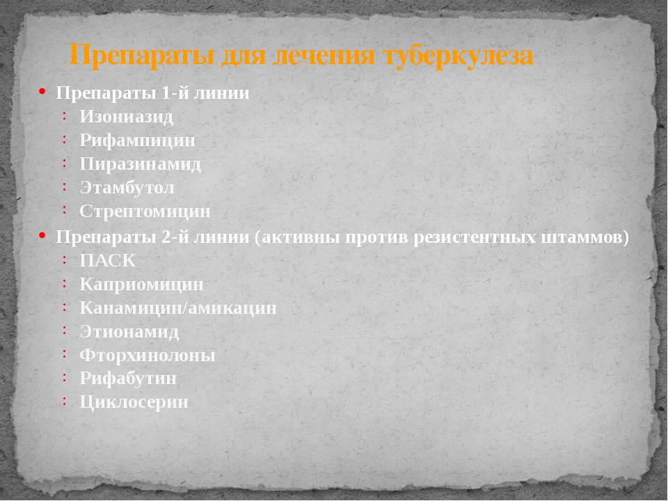 Препараты для лечения туберкулеза Препараты 1-й линии Изониазид Рифампицин Пи...