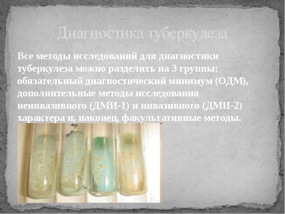 Все методы исследований для диагностики туберкулеза можно разделить на 3 груп...