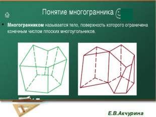 Понятие многогранника Многогранником называется тело, поверхность которого ог