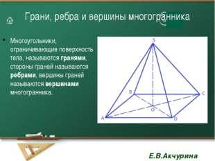 Грани, ребра и вершины многогранника Многоугольники, ограничивающие поверхнос