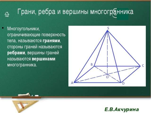 Грани, ребра и вершины многогранника Многоугольники, ограничивающие поверхнос...
