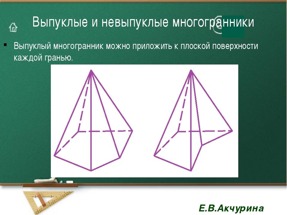 Выпуклые и невыпуклые многогранники Выпуклый многогранник можно приложить к п...