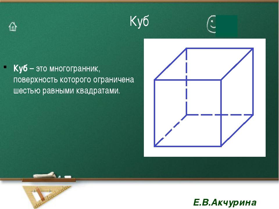 Куб Куб – это многогранник, поверхность которого ограничена шестью равными кв...