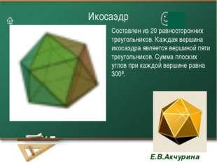 Икосаэдр Составлен из 20 равносторонних треугольников. Каждая вершина икосаэд