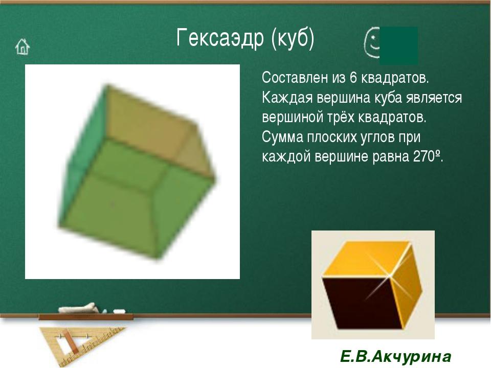 Гексаэдр (куб) Составлен из 6 квадратов. Каждая вершина куба является вершино...