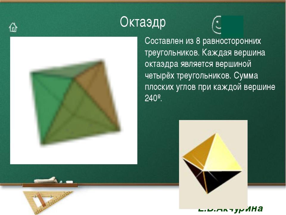 Октаэдр Составлен из 8 равносторонних треугольников. Каждая вершина октаэдра...
