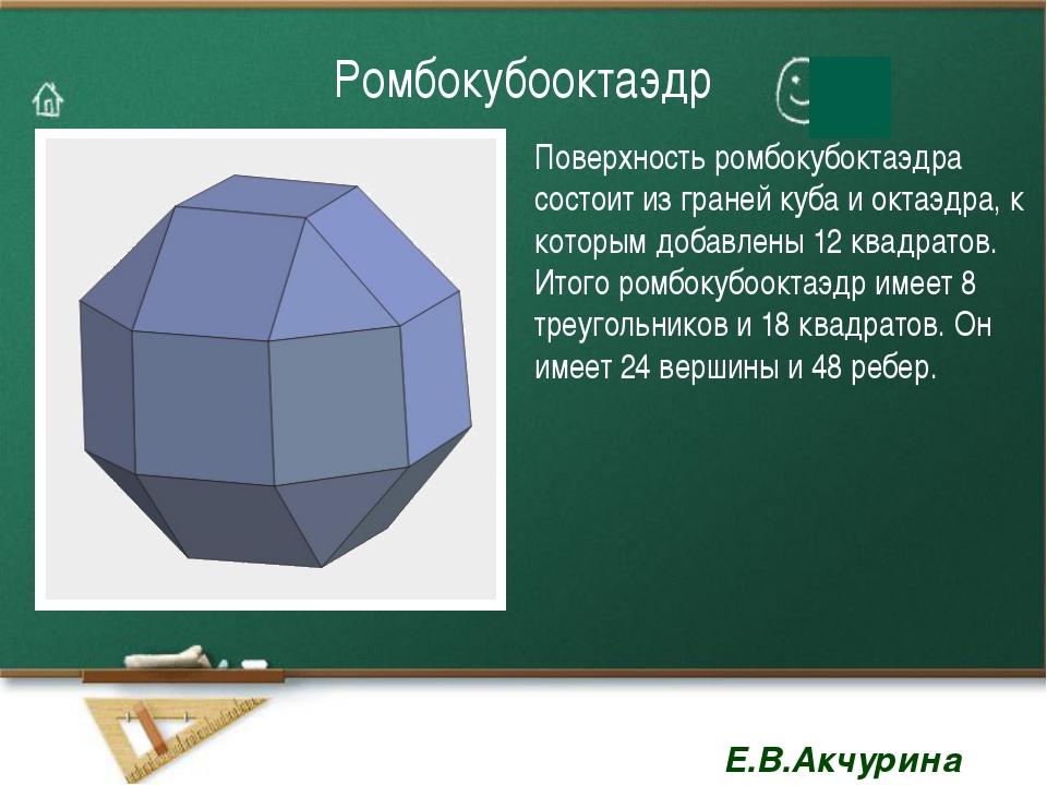 Ромбокубооктаэдр Поверхность ромбокубоктаэдра состоит из граней куба и октаэд...