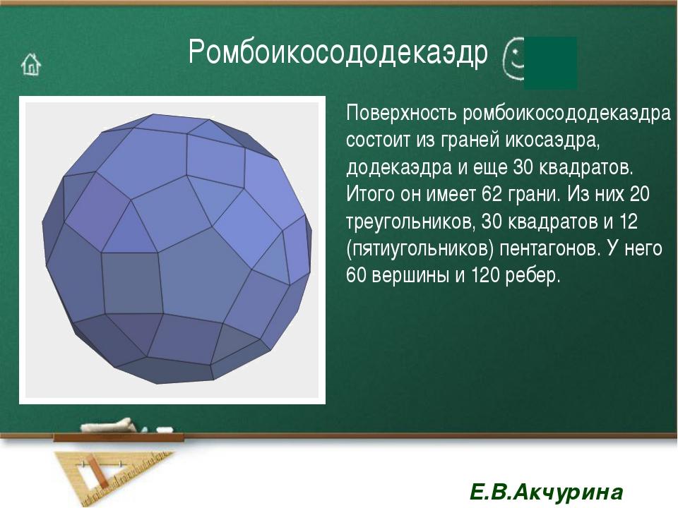 Ромбоикосододекаэдр Поверхность ромбоикосододекаэдра состоит из граней икосаэ...