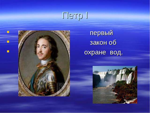 Петр I первый закон об охране вод.
