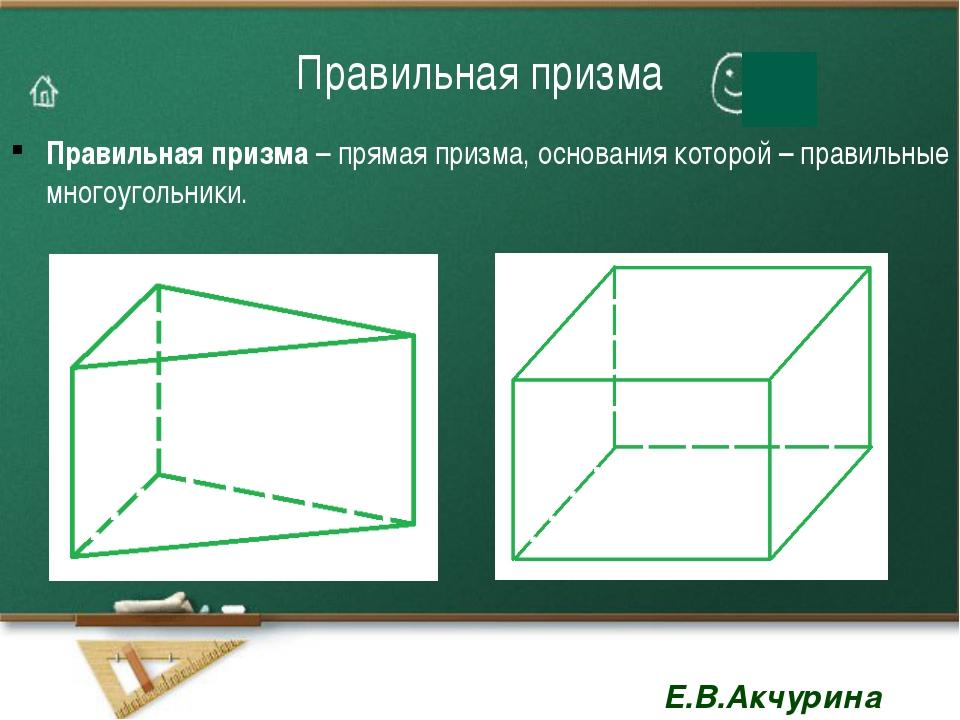 Площадь поверхности и объём наклонной призмы Е.В.Акчурина