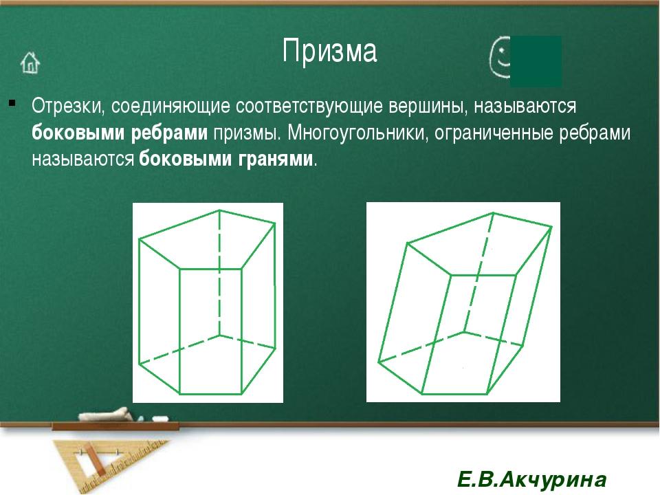 Призма Отрезки, соединяющие соответствующие вершины, называются боковыми ребр...