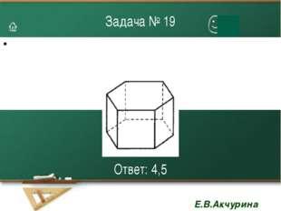 Задача № 19 Ответ: 4,5 Е.В.Акчурина 3108