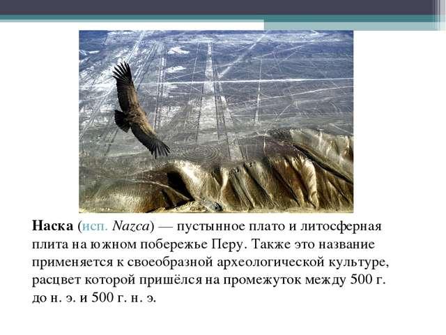 Наска (исп.Nazca)— пустынное плато и литосферная плита на южном побережье П...