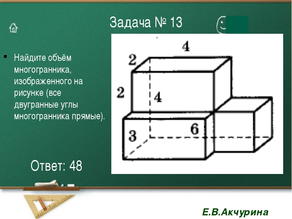 Задача № 13 Найдите объём многогранника, изображенного на рисунке (все двугра...