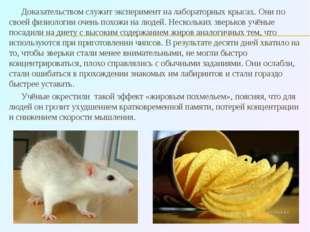 Доказательством служит эксперимент на лабораторных крысах. Они по своей физио