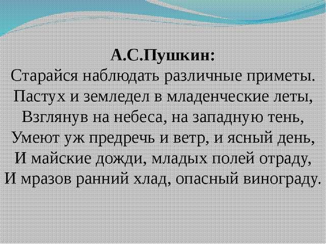 А.С.Пушкин: Старайся наблюдать различные приметы. Пастух и земледел в младенч...