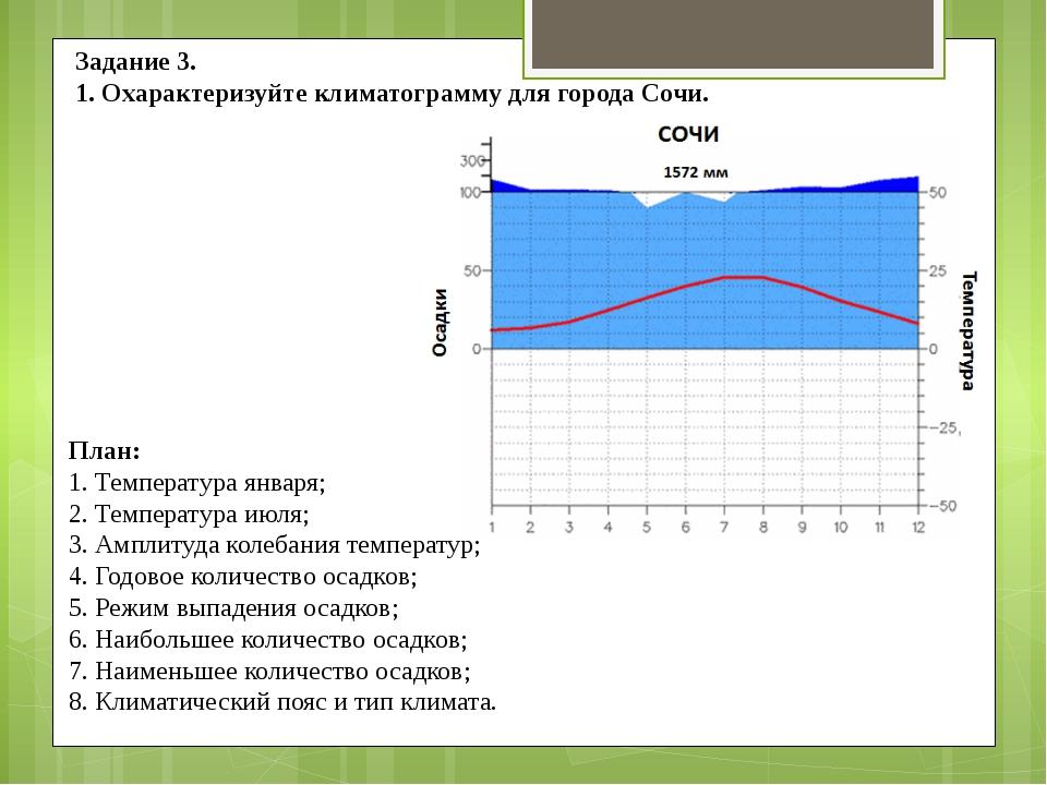 Задание 3. 1. Охарактеризуйте климатограмму для города Сочи. План: 1. Темпера...
