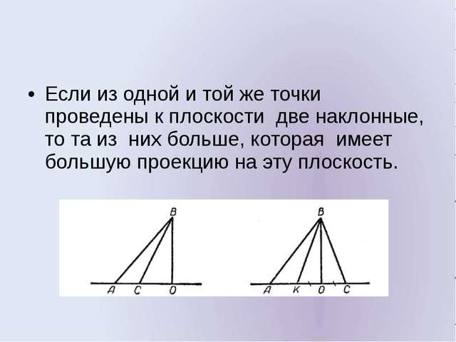 Если из одной и той же точки проведены к плоскости две наклонные, то та из н...