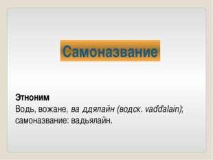 Самоназвание Этноним Водь, вожане, ва́ддялайн (водск. vaďďalain); самоназвани