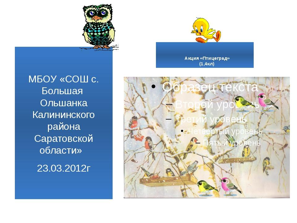 Акция «Птицеград» (1,4кл) МБОУ «СОШ с. Большая Ольшанка Калининского района...