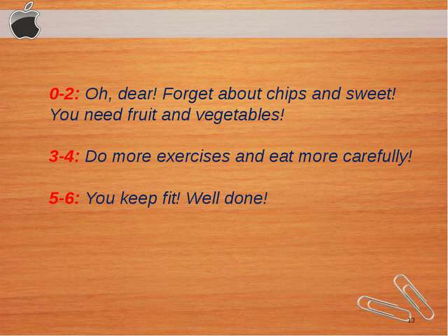 0-2: Oh, dear! Forget about chips and sweet! You need fruit and vegetables!...