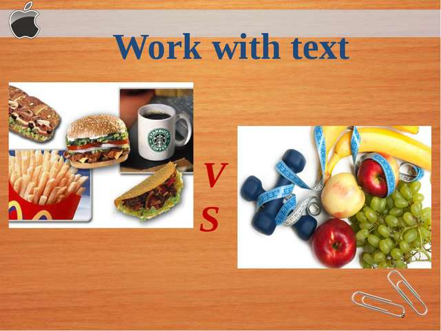 Work with text V S