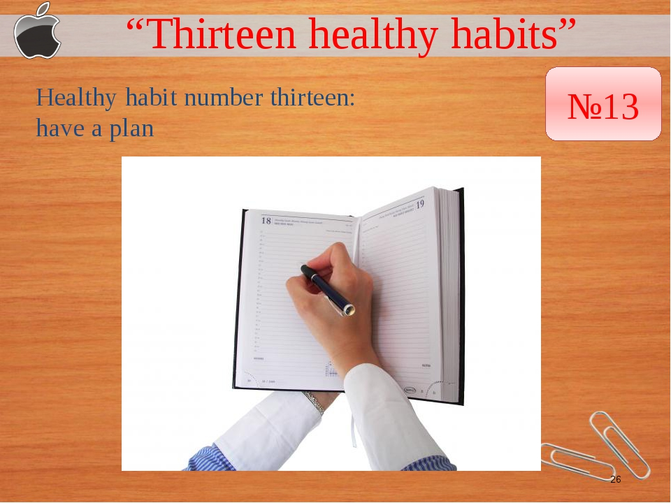 """Thirteen healthy habits"" Healthy habit number thirteen: have a plan №13"