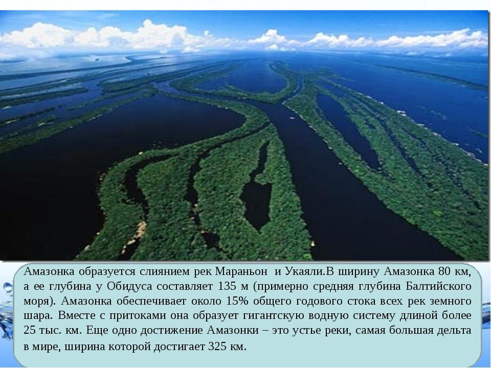 Амазонка образуется слиянием рекМараньон иУкаяли.В ширину Амазонка 80 км,...