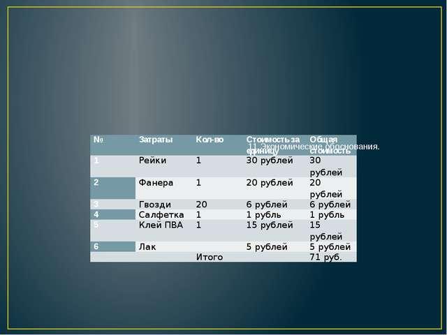 11.Экономические обоснования. № Затраты Кол-во Стоимость за единицу Общая ст...