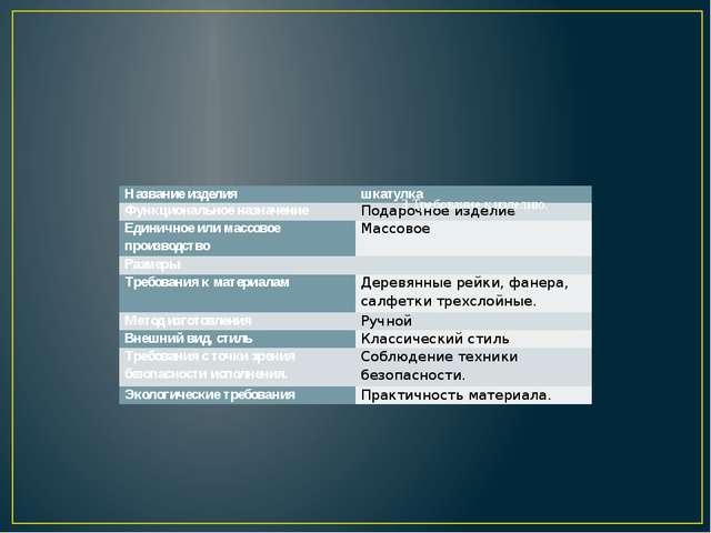 3 Требование к изделию. Название изделия шкатулка Функциональное назначение...