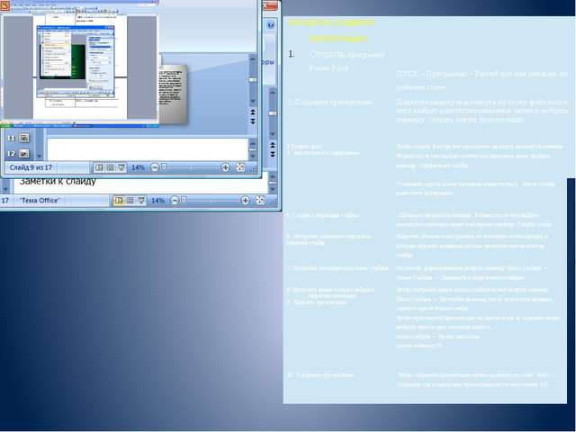 Алгоритм создания презентации. ОткрытьпрограммуРоwerPoint ПУСК– Программы –Р...
