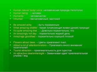 Human nature/ body/ voice -человеческая природа /тело/голос Human being - чел