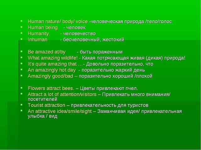 Human nature/ body/ voice -человеческая природа /тело/голос Human being - чел...