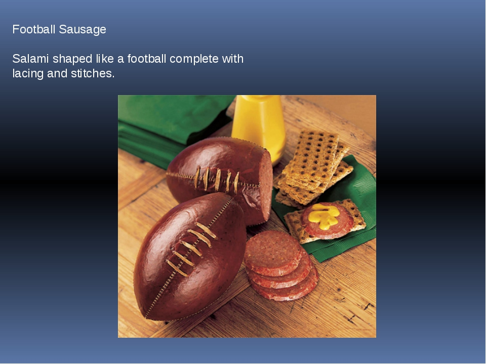 Football Sausage Salami shaped like a football complete with lacing and stitc...