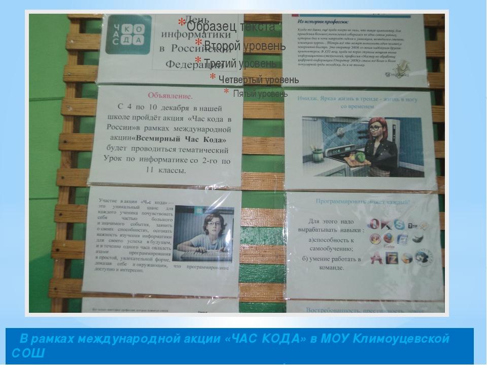 В рамках международной акции «ЧАС КОДА» в МОУ Климоуцевской СОШ проведены те...