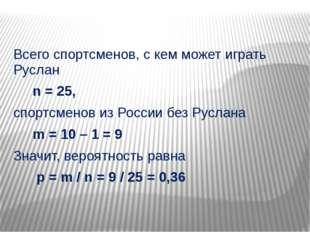 Всего спортсменов, с кем может играть Руслан n = 25, спортсменов из России б