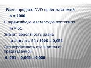 Всего продано DVD-проигрывателей n = 1000, В гарантийную мастерскую поступил